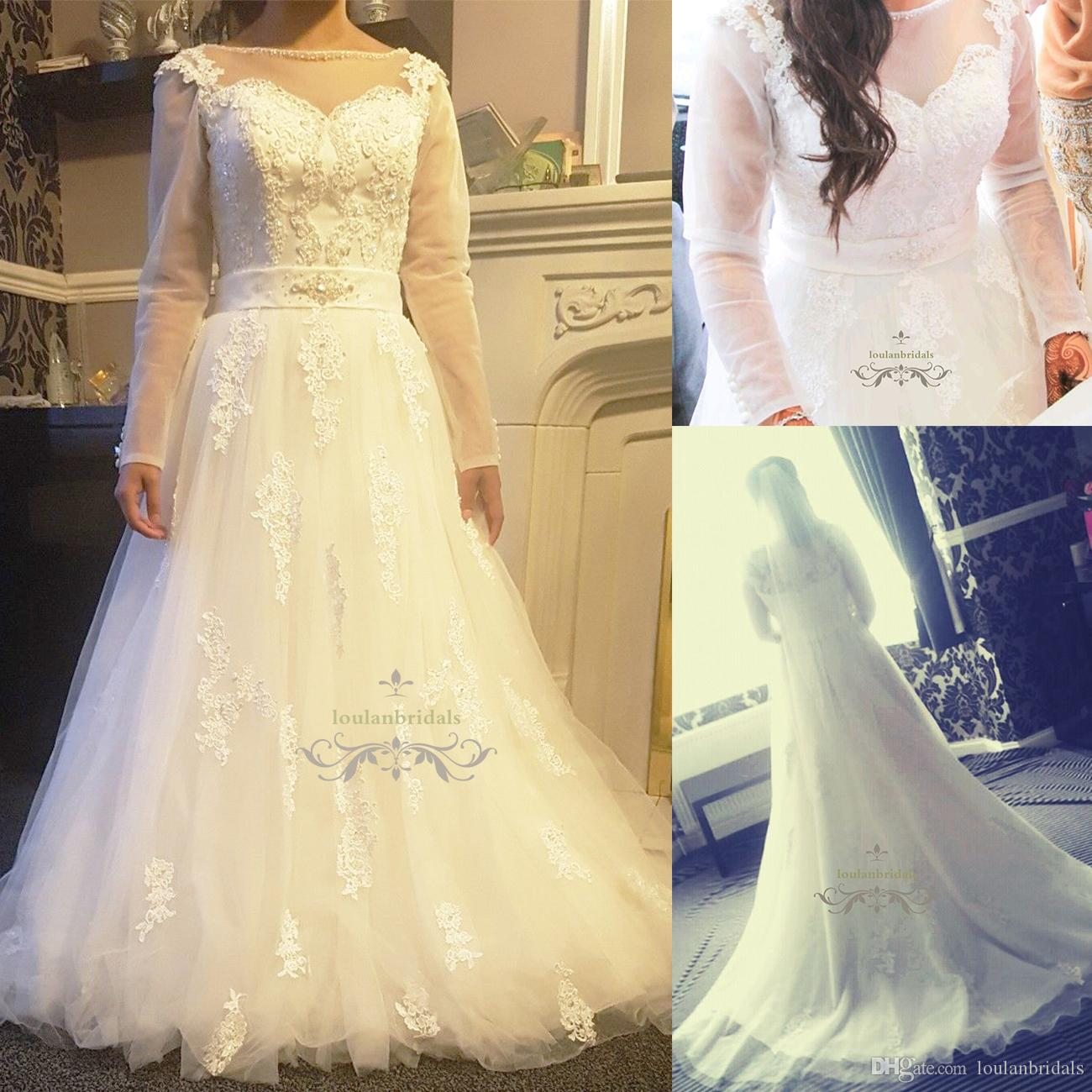 Discount Stunning Tulle And Lace Wedding Dress Buttoned Detailed