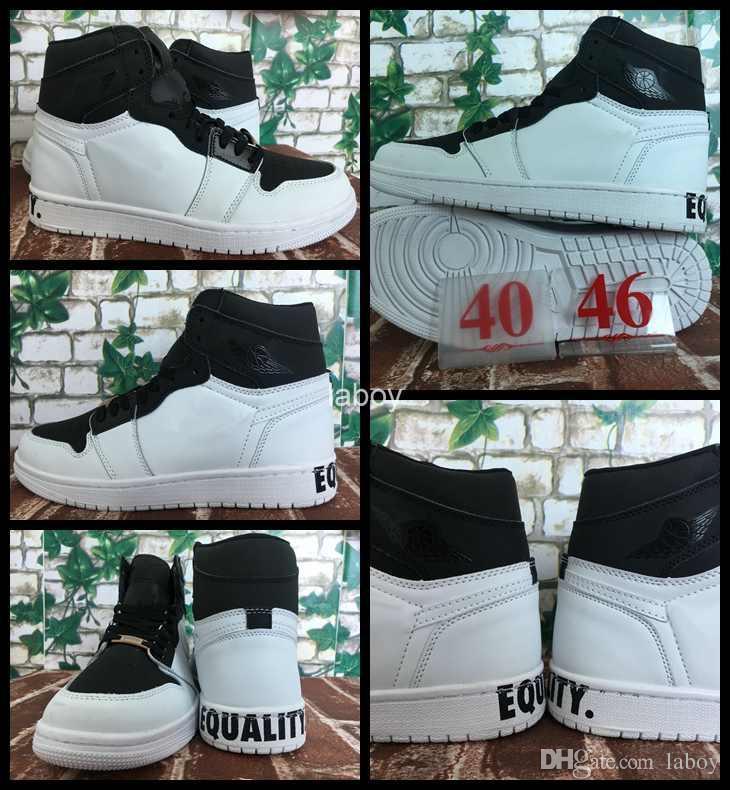 1d55793fc607ec 2018 New Mens 1 I Basketball Shoes White Black 1s Equality Men ...