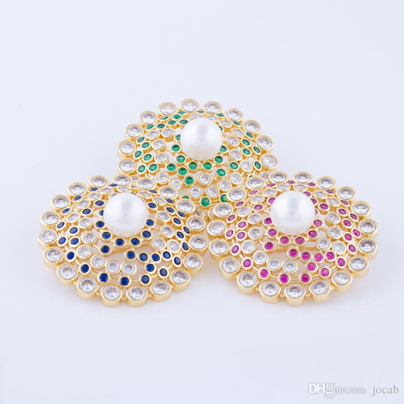 Wholesale 2018 New Arrival Elegant Pearl Flower Large Coat Brooches Women Vintage Pin Jewelry Accessorise AAA Cubic zircon Rhinestone Brooch