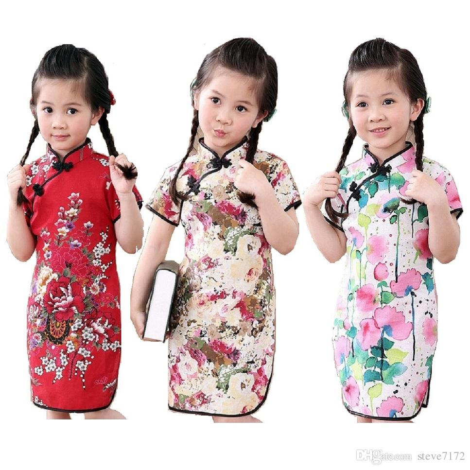 07ed3a30606d 2019 2018 Chinese New Year Baby Girl Qipao Dress Clothes Fashion ...