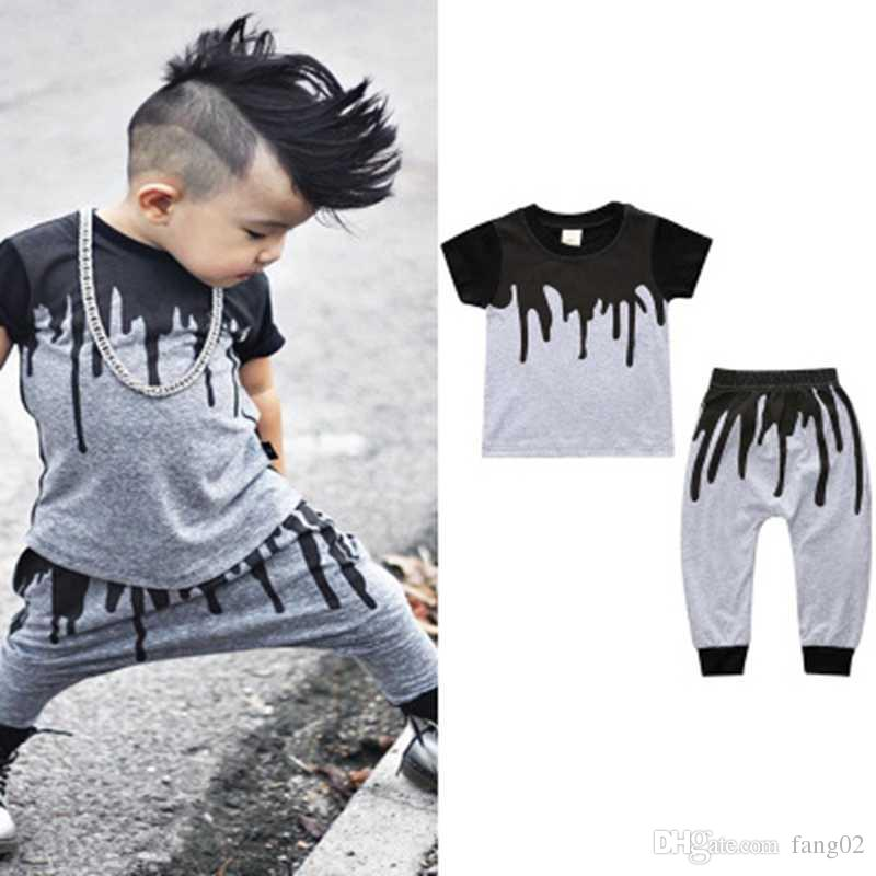 e93daa7b2433 2019 Graffiti Baby Boys Clothes Sets Kids Paint T Shirt Pants Suits 100%  Cotton Children Clothing Outfits Jumpsuit Tees Shirts From Fang02