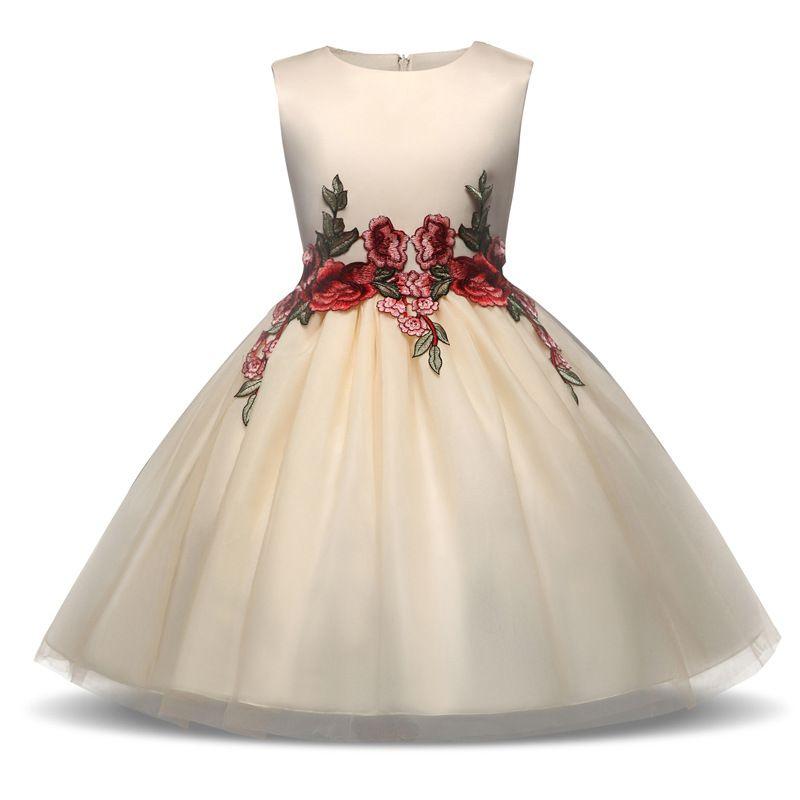 0ef4a448a97e Acquista Vestito Da Cerimonia Nuziale Del Partito Del Vestito Dalla  Principessa Ricamato Vestito Dai Bambini Della Ragazza Di Fiore A  40.19 Dal  ...