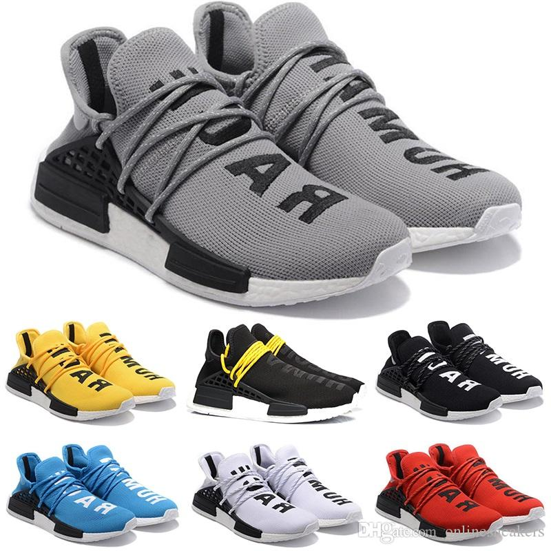 2ab6de26de016 2019 Human Race Running Shoes Men Women Pharrell Williams HU Runner Yellow  Black White Red Grey Blue For Mens Sports Sneakers Sale Online From ...