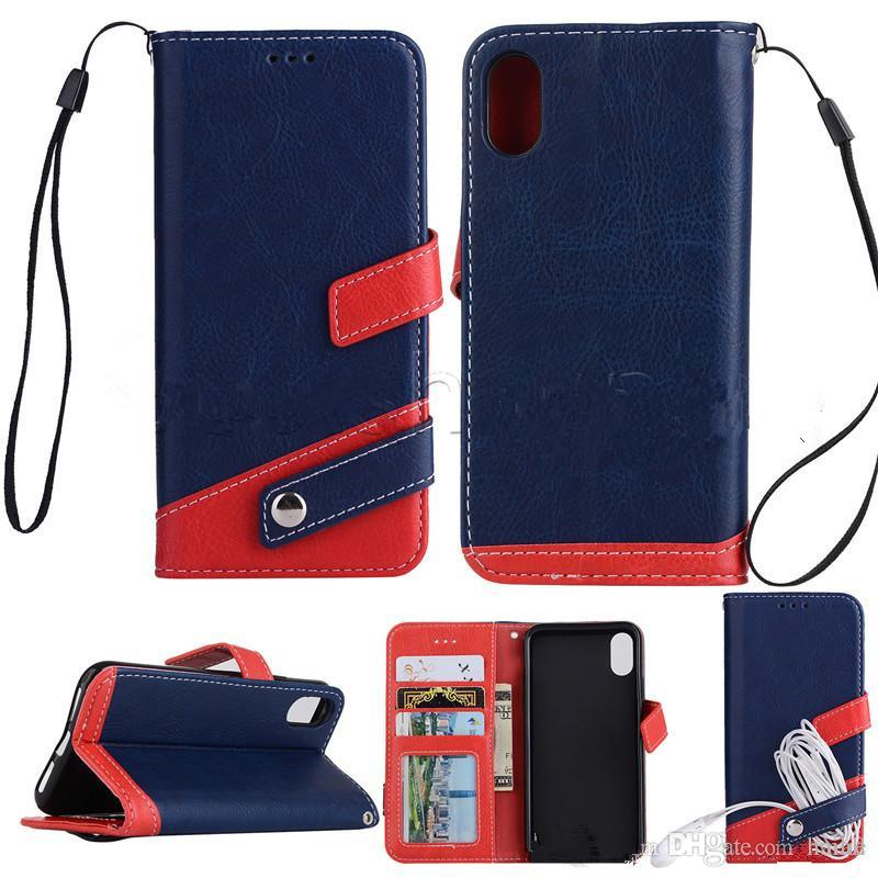 Leather Wallet Case with Photo Frame Card Slot Case Cover For iPhone X 7 6 Plus 5 SE Samsung S8 Plus S7 Edge