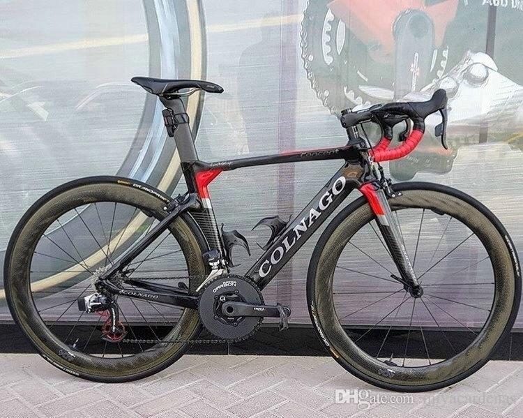Kırmızı colnago Konsept Karbon Komple Karayolu Bisiklet Mağaza Komple Bisiklet Bisiklet ile Ultegra Groupset 454 tekerlek seti