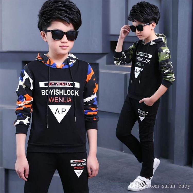 ab42c9f07 2019 2018 New Spring Autumn Boys Suit Children'S Sweater Hooded Long Sleeve  Two Piece Leisure Casual Letter Sportswear Baby & Kids Clothing Sets From  ...