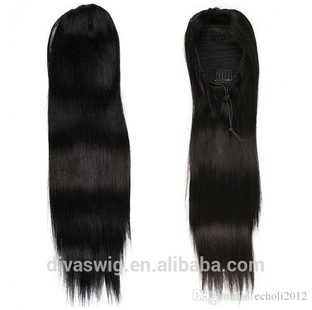 140g Human Hair straight Ponytails Hairpieces For American Black Women Curly Ponytail Drawstring Clip On Pony Tail free ship natural black