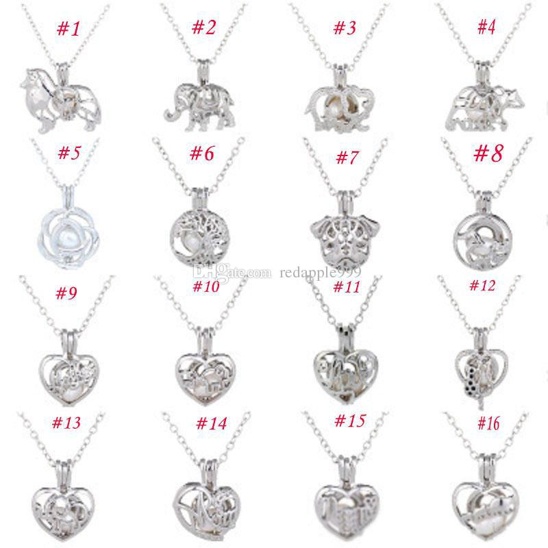 Cage Pendant Necklace Female Love Wish natural Pearl With Oyster Pearl Mix Design Fashion Hollow Locket Clavicle Chain Necklace wholesale