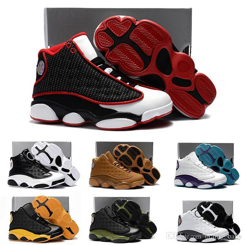 02f6b9d667bb Acheter En Ligne Nike Air Jordan 13 Retro Enfants Basketball Chaussures  Enfants 13s Haute Qualité Chaussures De Sport Jeunesse Garçon Fille Basket  Ball ...