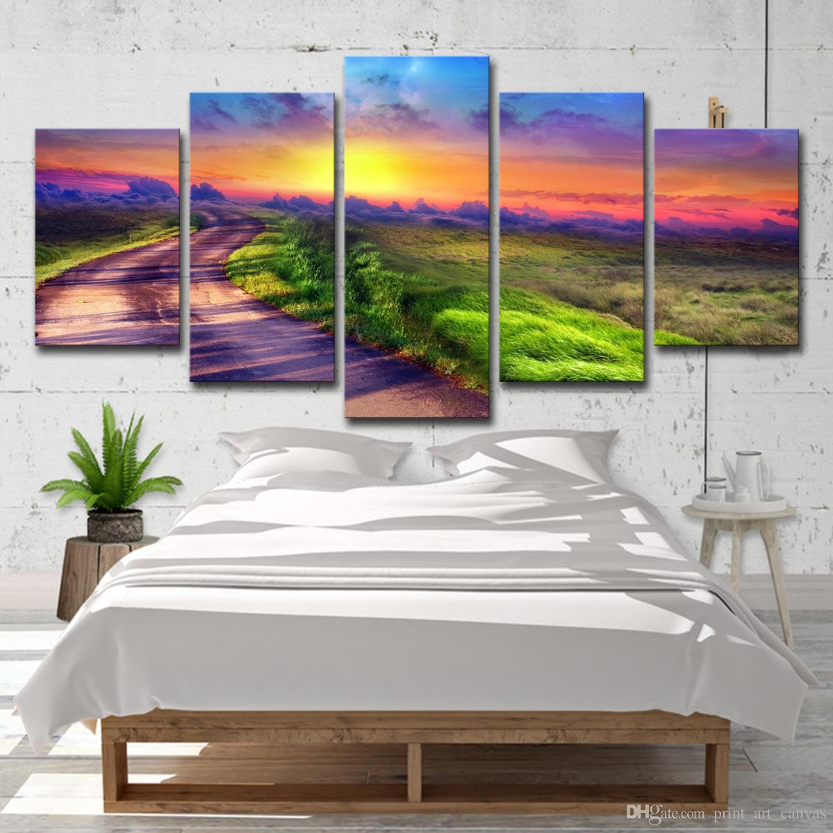 Hd printed picture large canvas painting for bedroom 5 pieces sunrise landscape living room home wall art decoration