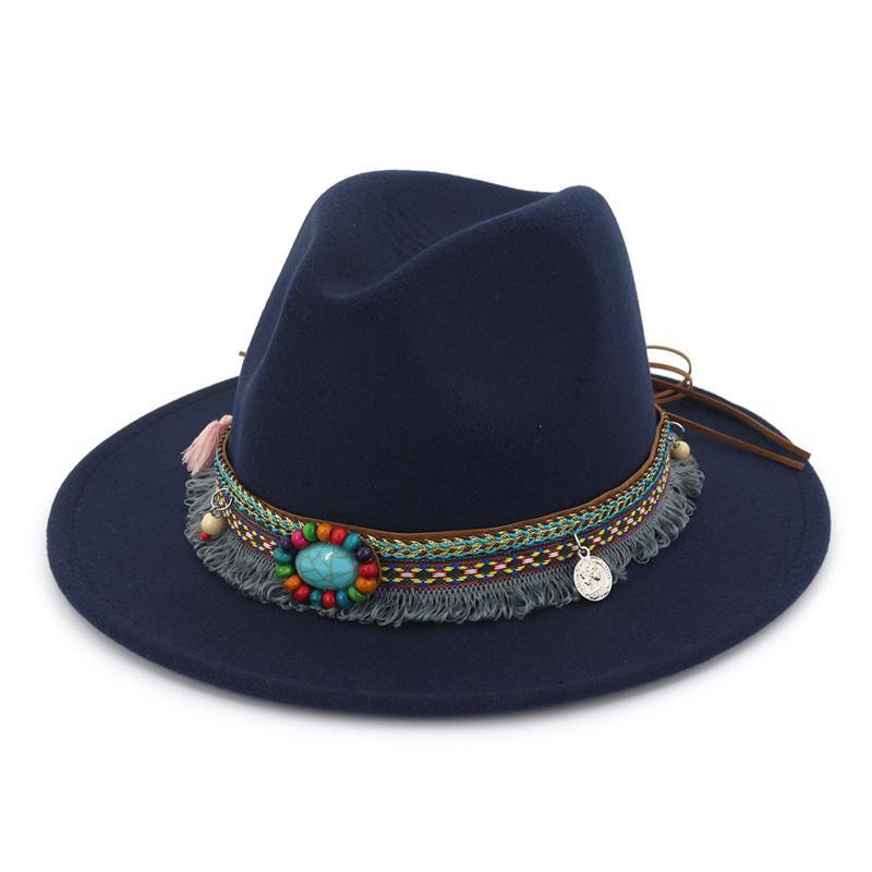 d6679559f21 Ethnic Style Band Decoration Felt Jazz Hat Fedora Panama Flat Brim Formal  Hats Oktoberfest Fedoras Trilby Chapeau Wholesale Hats Easter Hats From  Gslyy0712, ...