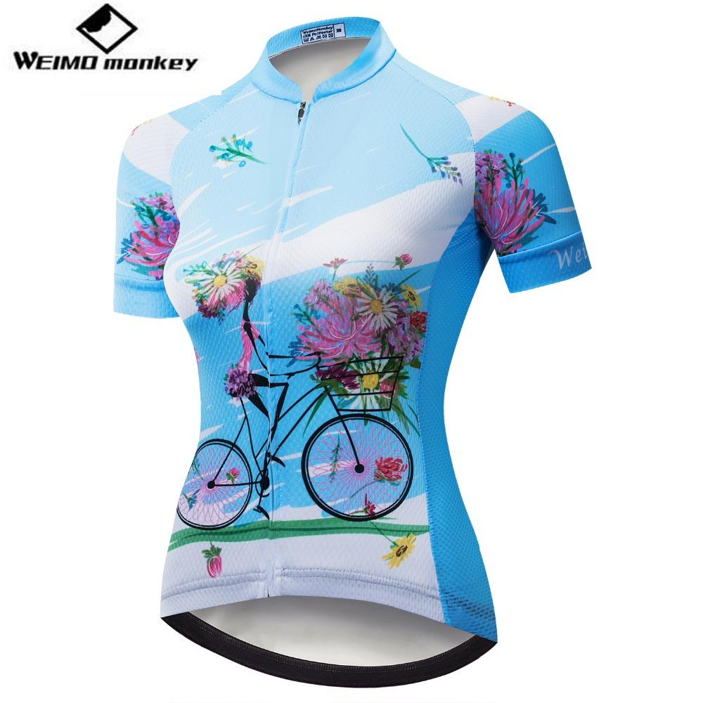 243cfc57e Cycling Jersey Women Bike Shirt 2018 Pro Road MTB Bicycle Clothing Short  Sleeve Ropa Ciclismo Female Maillot Racing Top Blue Mountain Bike Gear  Retro ...