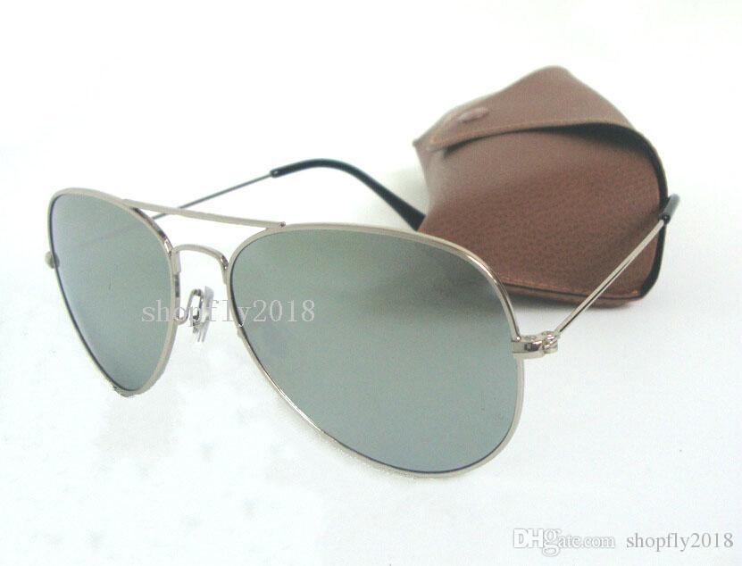 Compre 1 Par Clássico Piloto Óculos De Sol Para Homens Das Mulheres De  Metal Óculos De Sol Óculos De Prata Espelho 58mm 62mm Lentes De Vidro Com  Caixa ... 6784ac7b12