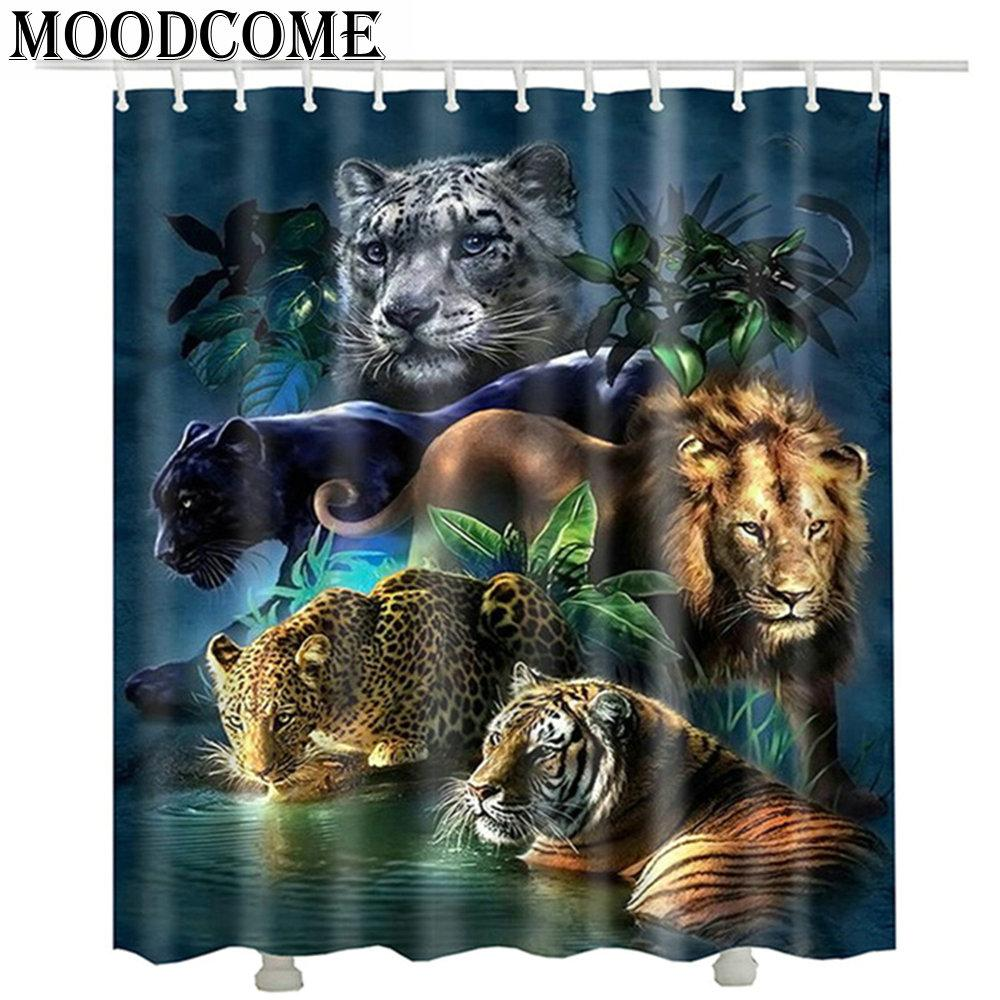 2019 Tiger Lion Leopard Printed Shower Curtains New 2017 Fashion Waterproof Bathroom 3D Animal Curtain From Hariold 2891