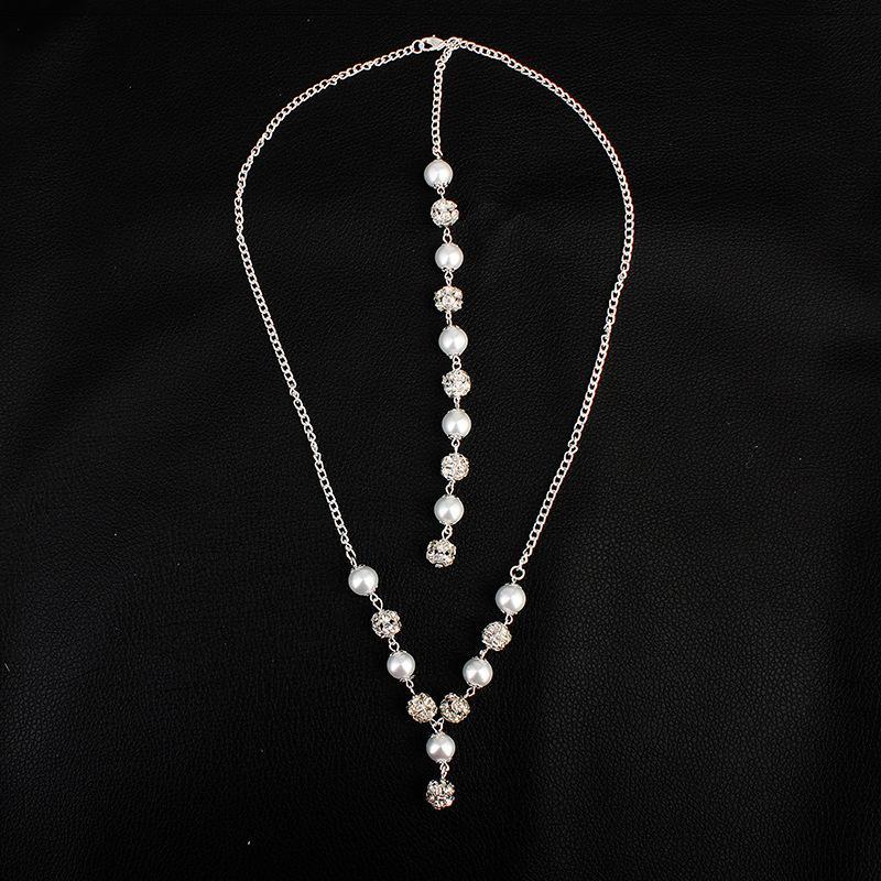 66506c19e486 Compre El Nuevo Collar De Perlas De Cristal Sin Espalda Collar De Mujer  Novia Telón De Fondo Largo Para El Vestido De Noche De La Boda Sin Espalda  JCK005 A ...