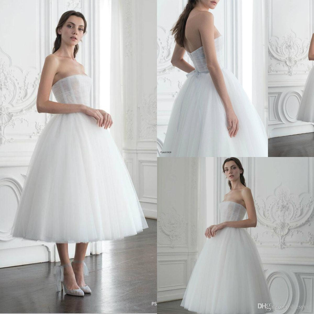 Paolo Sebastian Prom Dresses With Boning Strapless Tea Length Tulle  Illusion Elegant Evening Gowns Custom Made Cocktail Party Dresses Prince Prom  Dress With ... f792c5a2b
