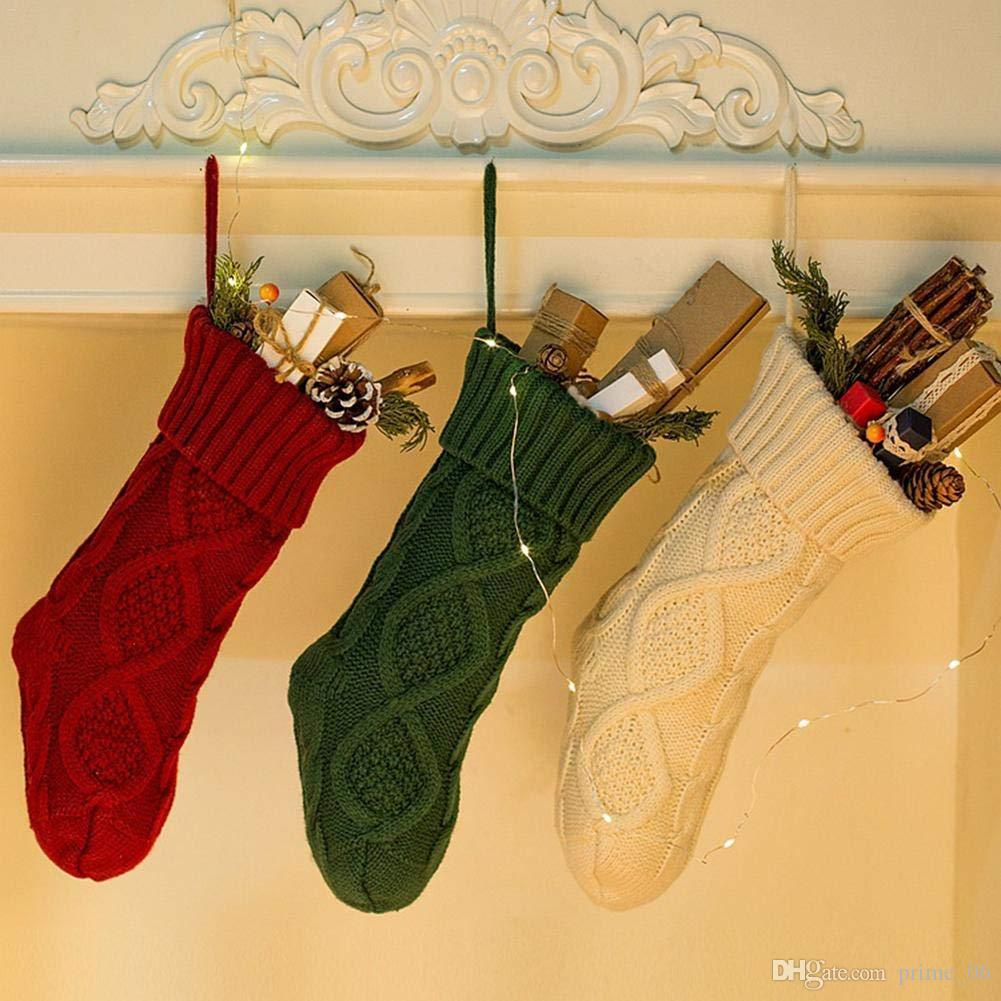 2018 Christmas Stocking Knit Xmas Cloth Bags Knitted Stockings ...