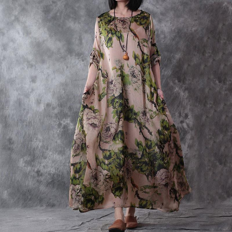 7dca65ce571 2019 BUYKUD Vintage Women Maxi Dress 2018 Summer Printed Casual Loose Dress  Plus Size Elegant Women Silk Polyester From Xiamen2013