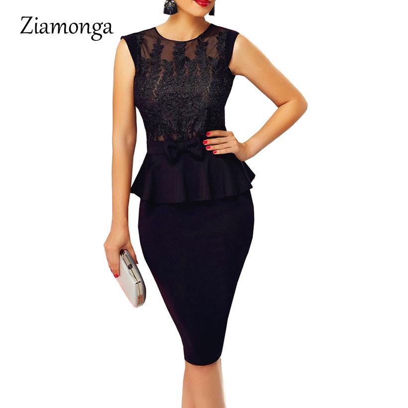 Compre Venta Al Por Mayor Vestido Negro Del Vendaje De La Manera Para El Partido  Vestido Elegante De La Oficina Vestidos De Trabajo Mujer Sexy Peplum ... 4182ad6c2a8f