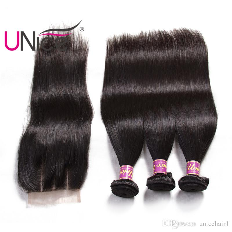 UNice Hair Raw Virgin Indian Straight Hair Bundles With Closure Human Hair Extensions Human Weave Bundles With Closure Top Bulk Wholesale