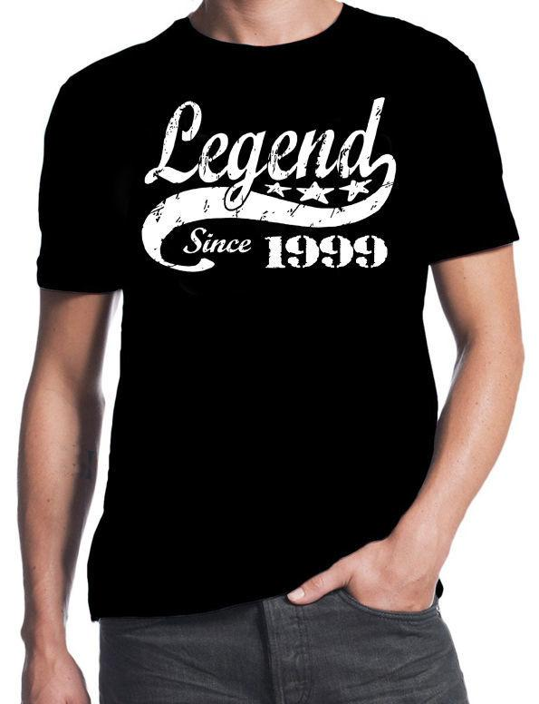 18th Birthday Legend Since 1999 18 Years Old Gift Idea Son Present Black T Shirt Summer Short Sleeves New Fashion Comedy Humorous