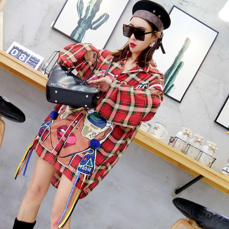 2008eec68f07b 2019 OL Red Plaid Shirt For Women 2018 Spring Tops Plus Size Blouse  Asymmetric Blouse Shirt Long Sleeve Casual W113 From Mangcao