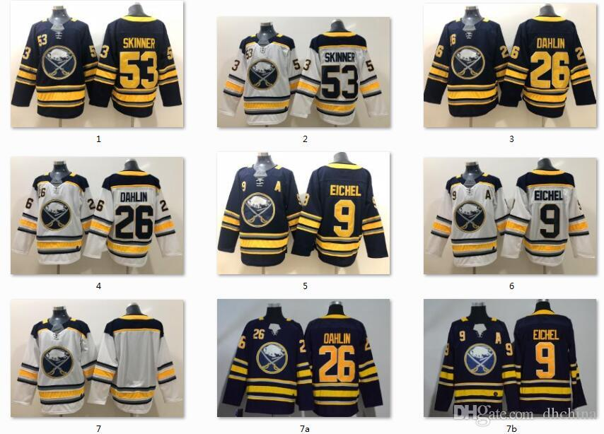 the best attitude 8fcf2 0d9a1 New Buffalo Sabres Jerseys #9 Jack Eichel #26 Dahlin #53 Skinner Jersey  Hockey Jerseys Blue White Color Size S-XXXL Mix Order All Jerseys