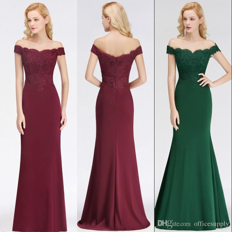 2019 Long Formal Dresses For Women Off Shoulder Mermaid Backless Bridesmaid Dresses Wedding Guest Evening Prom Gowns