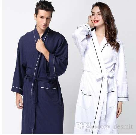 fd773f1707 Autumn Brand Pajamas Robe Men Cotton Robes Men S Long Sleeve V Neck Collar  Bathrobe Couples Hot Spring Bathrobe Plus Size UK 2019 From Desmit