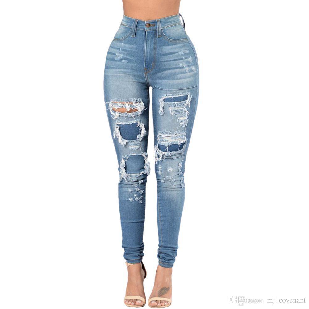 Trou Jeans La Slim Des Mi Boyfriend Femmes Jean Taille Déchiré Pantalon Skinny Bleu Délavé Crayon Casual En Plus Patch 3xl qpLSzVjUMG
