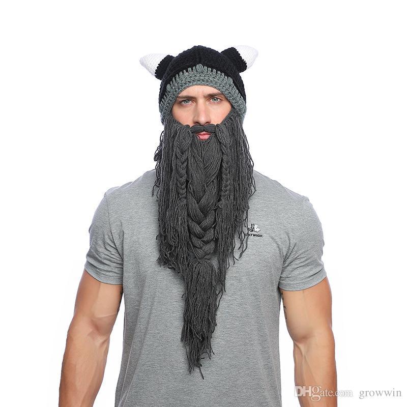 5b18fa03cbc Hot Funny Handmade Cap Long Beard Viking Hat Wool Bearded Horn Caps  Halloween Funny Hats D0672 1 Baby Boy Hats Black Baseball Cap From Growwin