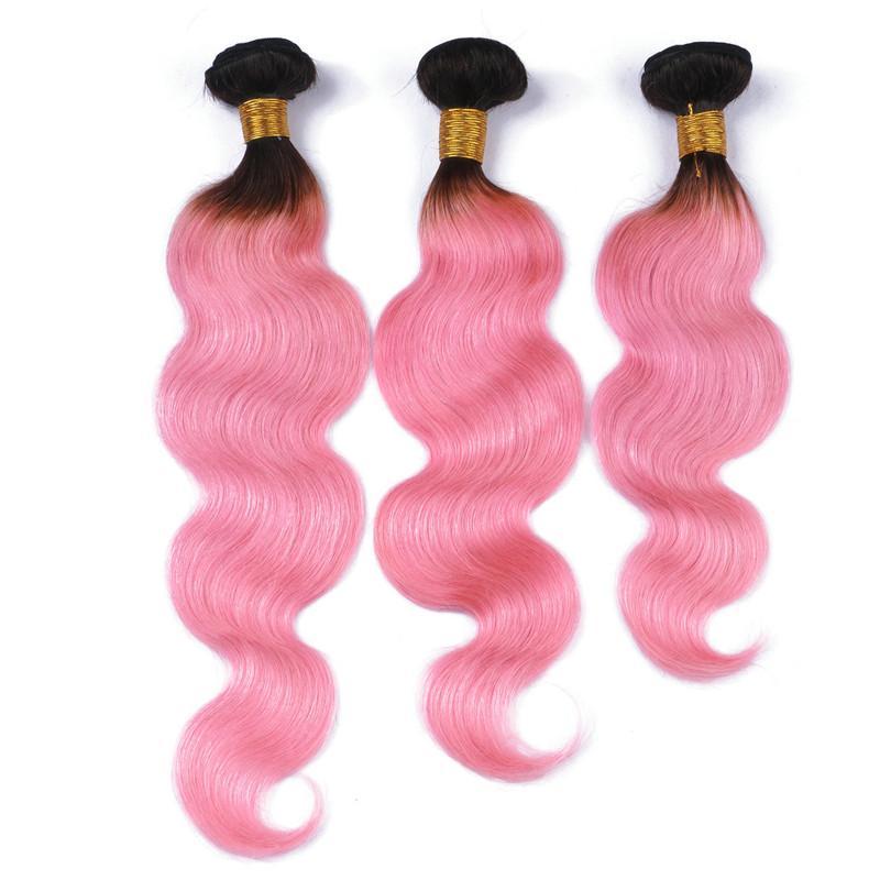 Brésilien Rose Ombre Vierge Cheveux Humains Weaves Extensions Dark Rooted # 1B / Rose Ombre Cheveux Humains Vague de Corps Bundles Offres Tangle Libre