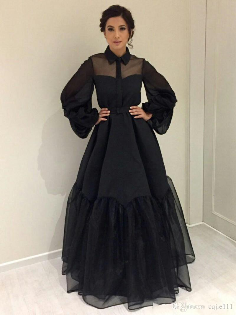 2019 New Black Celebrity Dresses inspired by The Bollywood Closet Sheer Ball Gown Poet Sleeves Satin Organza Floor Length Evening Gowns 86