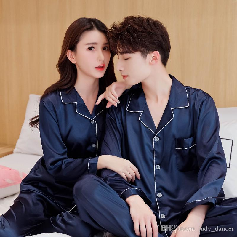 4 Colors Lovers Silk Pajamas Set Couples Long Sleeve Nightclothes Underwear Solid Color Home Apparel Lingerie Men Women Sleepwear Nightgown