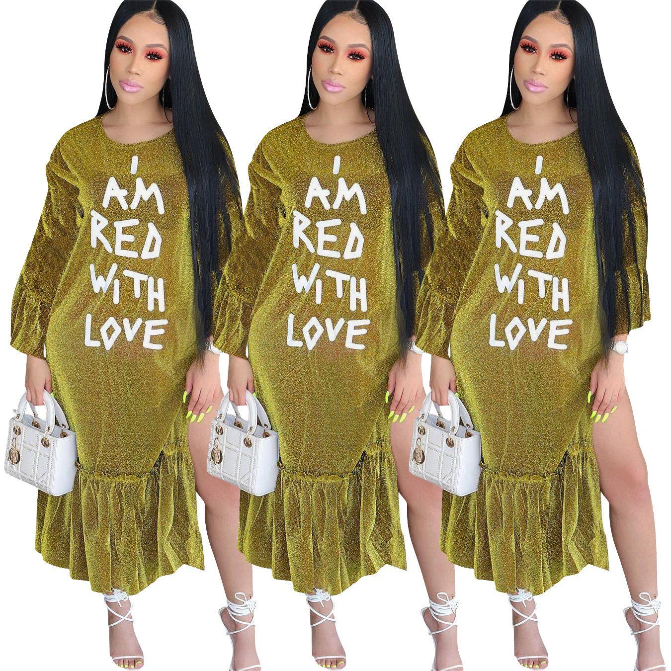 e22fe748186f Acquista Vestiti Delle Donne Longuette Abbigliamento Africano Maniche  Lunghe Stampa Di Lettere Il Lato Della Foglia Di Loto Vestire Nuovo Stile A   50.26 Dal ...