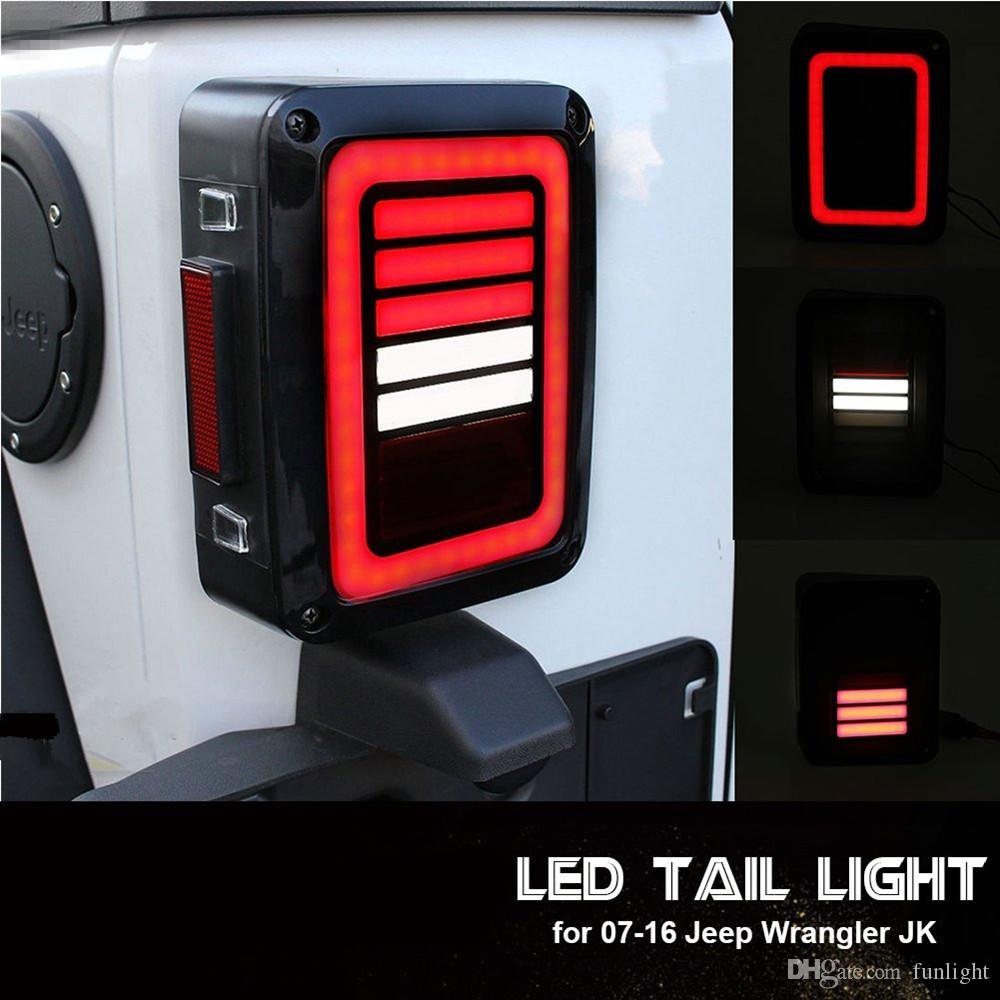 Jeep Wrangler Led Tail Lights >> 2019 Led Tail Lights Smoke Lens For Jeep Wrangler 2007 2017 Jk Jku