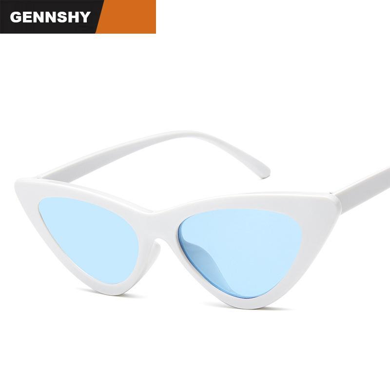 db7e583758 2017 Triangle Small Size Frame Cat Eye Sunglasses Unisex Unique Cool Women  Men Sun Glasses Transparent Ocean Lenses White Color Prescription Glasses  ...