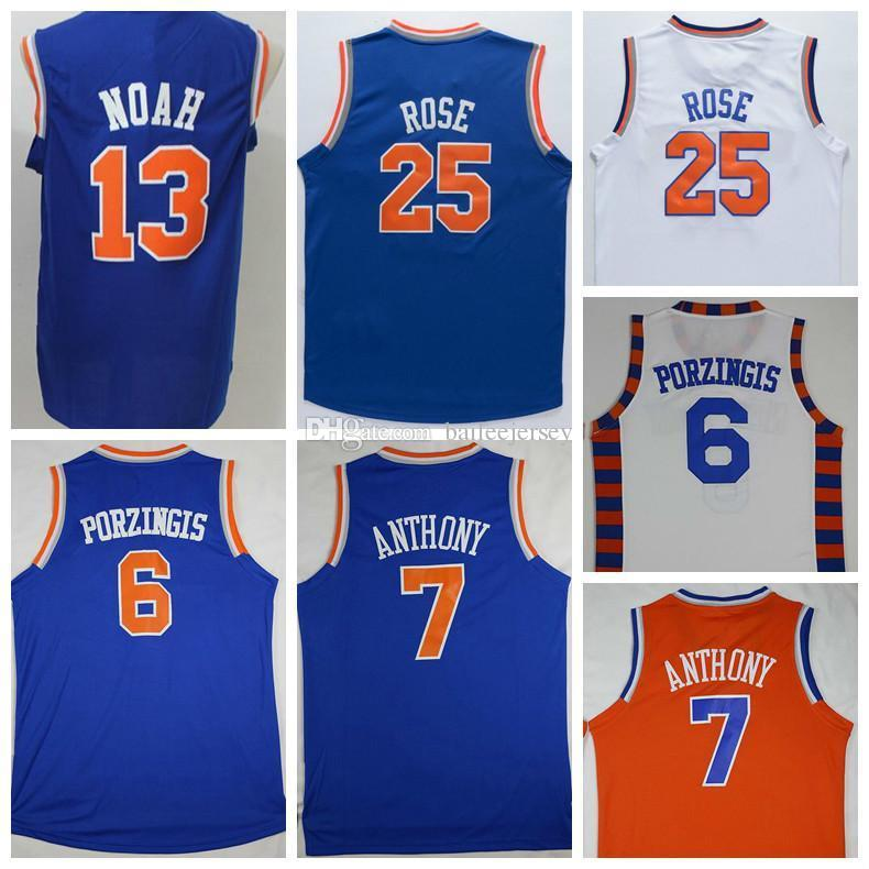 Mens 25 Derrick Rose Basketball Jersey Print 6 Kristaps Porzingis 13 ... d12154abc