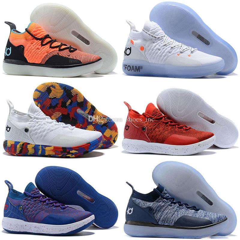 huge discount f61bf 22933 Großhandel 2018 Neu Kd 11 Basketball Schuhe Schwarz Grau Chlor Blau  Turnschuhe Kevin Durant 11s Designer Herren Turnschuhe Schuhe Größe 7 12  Von Shoes inc, ...