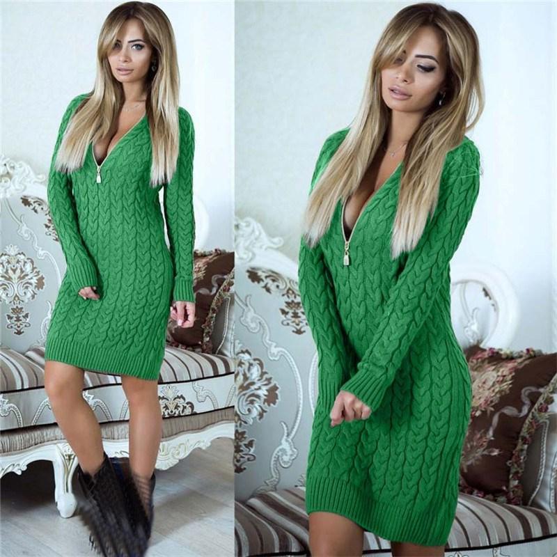 67eaa43a01 2019 Autumn Women Zipper Sweater Dress Sexy V Neck Knit Dress Fashion Warm  Bodycon Mini Dresses From Hoto