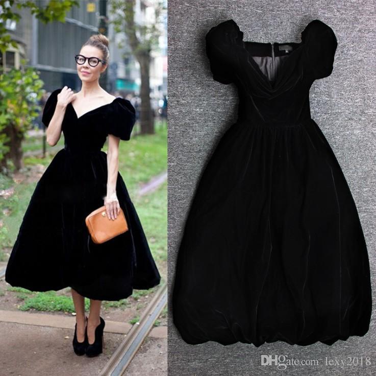 HIGH QUALITY Classical Designer Runway Midi Dresses Black Women's Velour  Empire V-Neck Tea Length Dress Long For Work Lady Plus Size XXXL