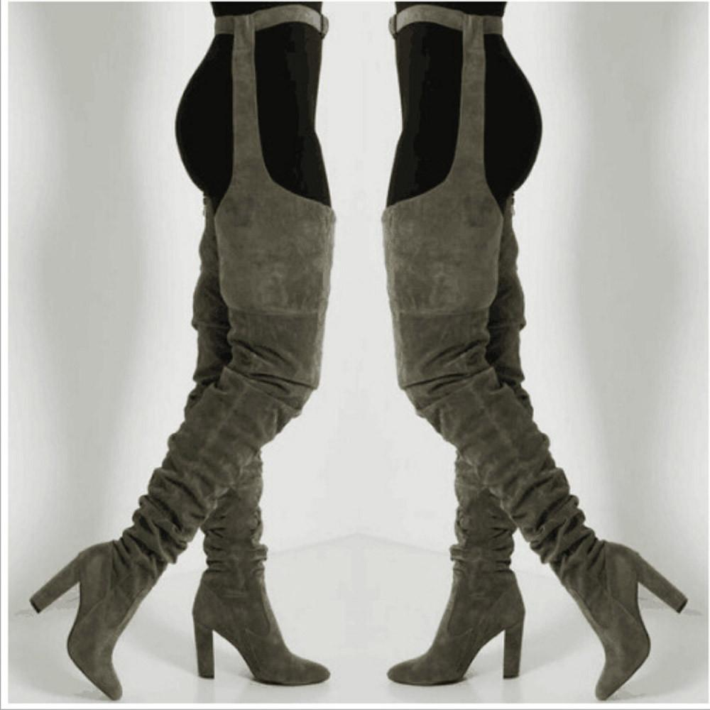 576aa61401 Compre SAGACE Botas Para Mujer 2018 Europa Punta Larga Tubo Sling Discoteca Zapatos  De La Pasarela De Tacón Alto De Espesor Con Botas De Mujer Oc5 A  98.04 ...