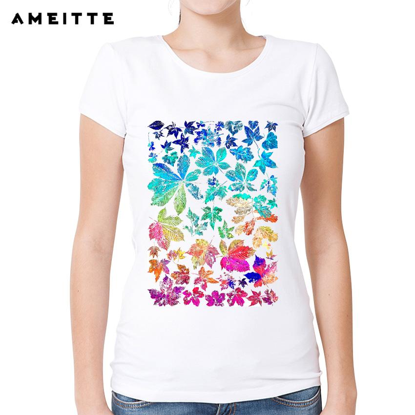 Women's Tee Ameitte Fashion Rainbow Leaves Design T Shirt Summer Art Design Print Tshirts Harajuku Tees For Women White O - Neck Casual Tops
