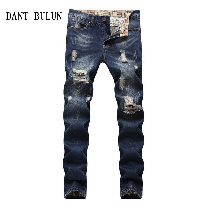 Acquista DANT BULUN Jeans Da Uomo Jeans Strappati Da Motociclista Uomo Slim  Fit Design Hip Hop Casual Pantaloni Blu Scuro Con Foro Di Jeans 82f4ba95a594