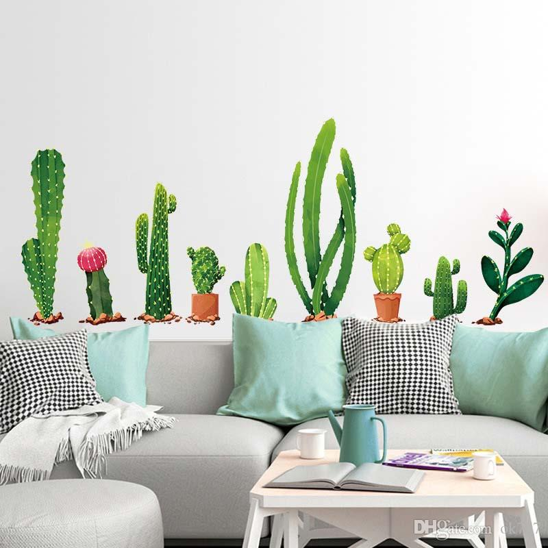 Many types of cactus Green plants Wall Stickers Living room Bedroom  background home decoration Mural Decal wall decor wallpaper