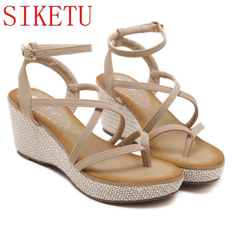 Compre 2018 Sandalias De Las Mujeres De Moda Zapatos De Gladiador De Verano  Para Mujer Zapatos Bohemia Mujer Zapatos De Playa De La Comodidad Cuña  Sandalias ... ba96276e558a