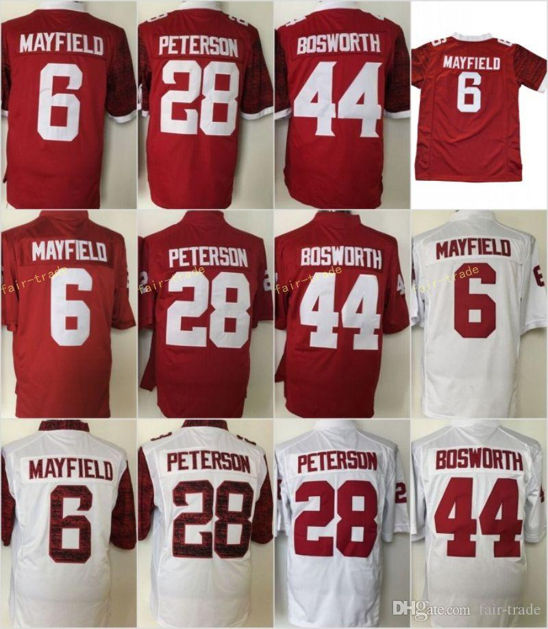 dd7de7b39a5 2019 2018 Youth Oklahoma Sooners Kids 1 Kyler Murray 28 Adrian Peterson 44  Brian Bosworth  6 Baker Mayfield College Football Jerseys Red White From  Fair ...