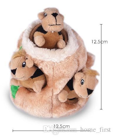 Cartoon Hide Plush Squirrel Squeaky Pet Dog Toy Puppy Chew Sound Interactive Toys Cat Dog Pet Articles