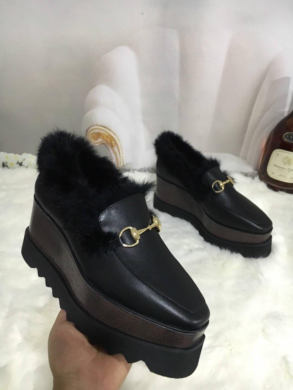 e2aaddee2e Yeni kış vizon deri tabanlı ayakkabı yıldız kare muffin alt saç kadın  ayakkabı ile yamaç yükseltmek ayakkabı Maomao ayakkabı