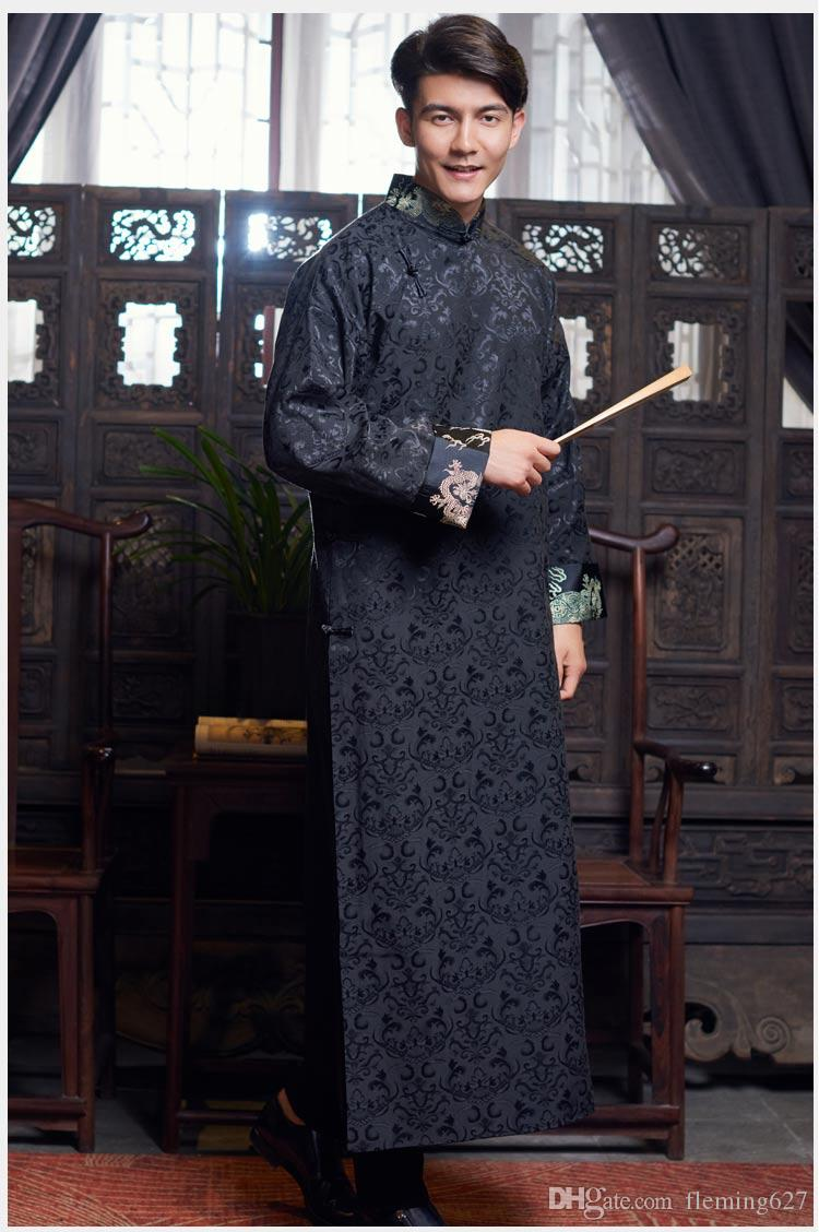 New ancient costume Chinese traditional clothing male cheongsam long sleeve Chinese tang suit for men cheongsam style gown men's stage wear